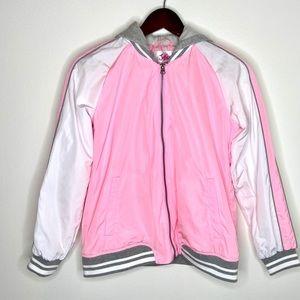 Justice girl's pink bomber hoodie jacket